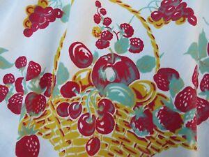 Vtg Tablecloth Baskets of Cherries Strawberries Grapes Jadite Leaves BIG 76X56