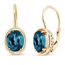 18k Yellow Gold Plated Silver London Blue Topaz Dangle Earrings 3.60 Ctw Oval