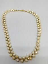 AVON Double Row Faux White Pearls with Gold Tone Cross Weave Choker Necklace