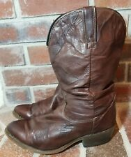 Durango Brown Lizard Patched Gold Tip Slouch Cowgirl Boots - Women's Size 10 D