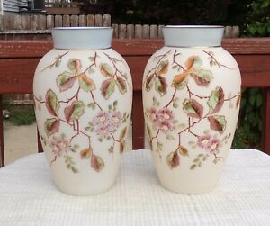 """Pair Antique Bristol Glass Vases 19th Century Depicting Cherry Blossoms 12"""" Tall"""