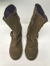 Blowfish Wedge Womans Ankle Boot Double Buckle Size 8.5 Brown