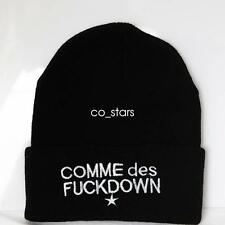 UNISEX MENS HAT WOMANS KNIT KNITTED BEANIE RETRO COOL COMME DES FUCKDOWN BLACK
