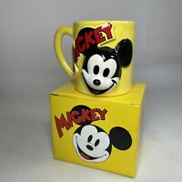Disney World Vintage Mickey Mouse Ceramic Yellow Mug Cup 3D White Head BOXED
