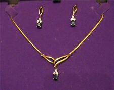 Sapphire & Diamond Necklace and Earring Set 9KT Gold made in Italy