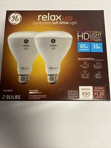 Ge Relax LED BR30 2 Pack 65w 10w HD Light 650 Lumens Dimmable 68430