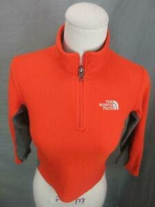 The North Face Size XS(6) Boys Orange Athletic 1/4 Zip Fleece Pullover Top Shirt