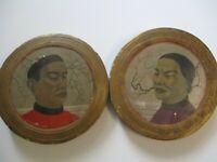 2 ANTIQUE PAINTING FINE OLD CHINESE SCHOLAR PORTRAIT MAN WOMAN ART DECO ERA 1920