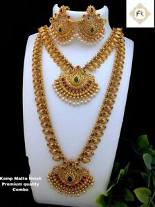 South Indian Yellow Gold Temple Jewelry Short & Long Necklace Earrings Set 5 Pcs