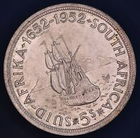 1952 George VI South Africa Suid Afrika 5 shillings 80% silver aUNC **[13865]
