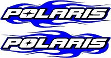 "Polaris snowmobile trailer flame 2 sticker decal set blue  11"" x48"" left & right"