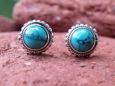 925 SILVER STUD TURQUOISE EARRINGS SILVERANDSOUL HANDCRAFTED JEWELLERY