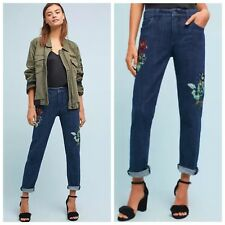 NWT Anthropologie Pilcro Mid-Rise Slim Boyfriend Embellished Jeans 32 $158