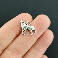 Howling Wolf 28mm Wholesale Antiqued Silver Plated Charms C8147-5 10 Or 20PCs