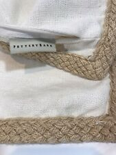 Pottery Barn Pillow cover 20 x 20 Cream Linen braided Jute trim EXCELLENT