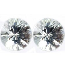 NATURAL  WHITE ZIRCON GEMSTONES LOOSE 4pcs - 3.5 mm ROUND DIAMOND CUT AAAAAA