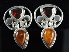 Sajen Amber Red Garnet Post Earrings Sterling Silver .925