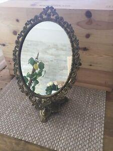 Antique 1920s Brass Adjustable Vanity Table Swivel Mirror Italy