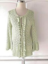 Etcetera Carlisle Nwt $195 M Lovely Honeydew Green Ruffle Sweater Cotton Angora