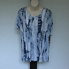 'YVONNE BLACK' BNWT SIZE '10' BLUE & WHITE CAP SLEEVE PRINT TOP WITH SEQUINS
