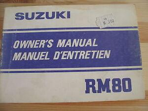 1982 82 Suzuki RM 80 RM80 Suzuki OWNER'S Manual Inglés Usdm Francés Edm