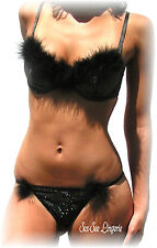 NEW w/ tags! Sweet Undy's Black Shimmering Boa Bra & Thong Set 34B - Small