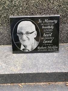 Photo Personalised Granite Memorial Grave Plaque Headstone - 20x15cm