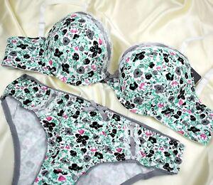 Bra Set White Black Floral Ladies Underwear Lingerie Padded Luxury Bra Briefs