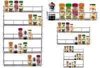 1 2 3 5T Chrome Spice Rack Jar Holder Door Mounted Kitchen Cupboard Wall Storage