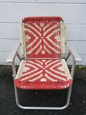 Vintage Folding Aluminum Lawn Chair Macrame  Red & White