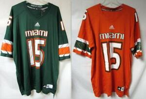 Adidas Miami Hurricanes Men's #15 Jersey, Green or Orange, Various Sizes C1 1884