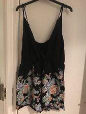 Asos Black Floral Playsuit Romper V Neck S