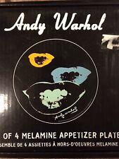 ANDY WARHOL 2006 Set of 4 Melamine Appetizer Plates Marilyn Monroe Lips POP ART