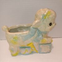 Vintage Lamb Planter Cute Baby Animal Sheep Retro Nursery Decor Ceramic