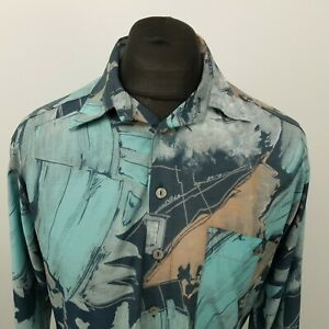 RETRO Vintage Shirt Crazy Funky Hippy 80s 90s LOOSE 39/40 MEDIUM RELAXE Abstract