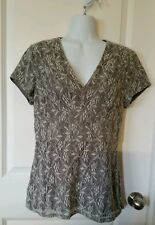Banana Republic Women's Gray Lined Floral Print Blouse Top Size 8