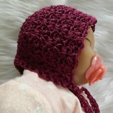 HAND CROCHET BEANIE BONNET BABY GIRL COTTON BURGUNDY 0 - 3 MTH KNIT NEWBORN HAT