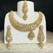 Gold diamanté necklace earrings tikka set Indian wedding bridal bridesmaid party