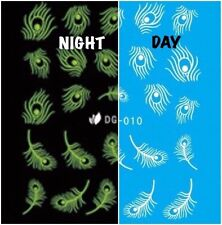 Nail Art Water Decals Glow in the Dark Night Time Peacock Feathers DG010