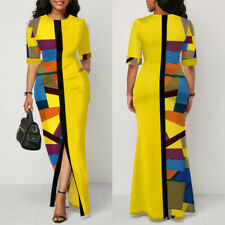 Women's Colorblock Long Maxi Casual Work Office Party Cocktail Patchwork Dresses