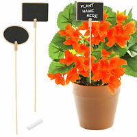 Wooden Herb Plant Pot Blackboard Garden Kitchen Seed Flower Labels Tags + Chalk!