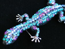 TEAL PURPLE REPTILE IGUANA GECKO SALAMANDER LIZARD PIN BROOCH JEWELRY MOVABLE 4""