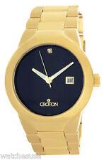 Croton Mens Black Dial Gold Tone Stainless Steel Bracelet Watch CN307036