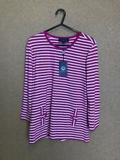 BNWT Womens Viyella Pink & White Stripe Small Top A29