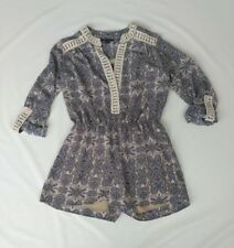 e3dd9160ec0b NWOT ROMEO+JULIET COUTURE Womens Shorts Romper Large Gray Beige Paisley