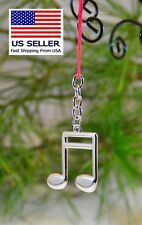 Music Note Keychain, Silver Double Eighth, Great Gift.