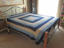 BELLE  BEDSPREAD   Wool   BLUE & WHITE   CROCHET   HAND MADE   QUEEN Size
