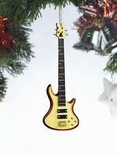 """Miniature 5"""" Natural Wood Bass Guitar Hanging Tree Ornament OBG12NW"""