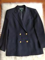 Ralph Lauren Women's Blazer Size 8 Dark Blue, Wool Double Breasted Gold Buttons