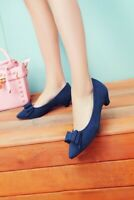 Ladies Mid Kitten Heel Pointed Toe Faux Suede Bows Court OL Shoes Plus Size Pump